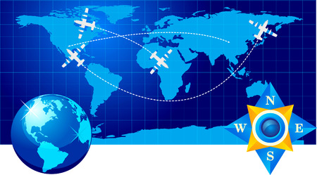 Travel illustration plane on map