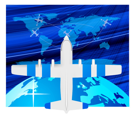 Travel illustration plane on map  Stock Vector - 6796004