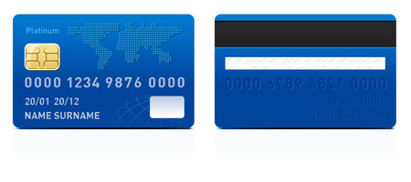 debit card: Realistic credit card isolated on white background