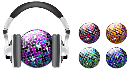 disco ball with headphones on white background Stock Vector - 6829745