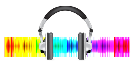 Professional icon of the headphones on multicolored back Vector