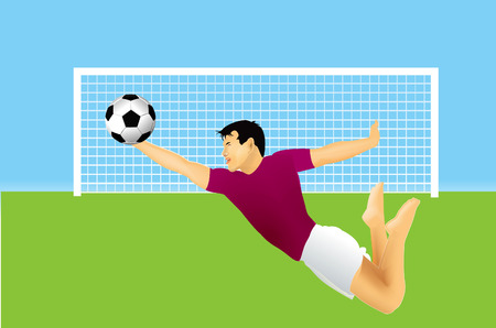 football net: Soccer goalkeeper is jumping on ball.