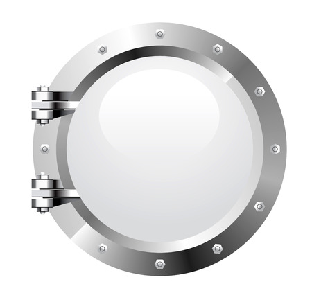 ship porthole: Vector realistic metalic porthole on white background