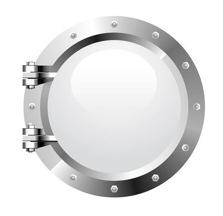 ventana ojo de buey: Vector troneras de Metalica realista sobre fondo blanco
