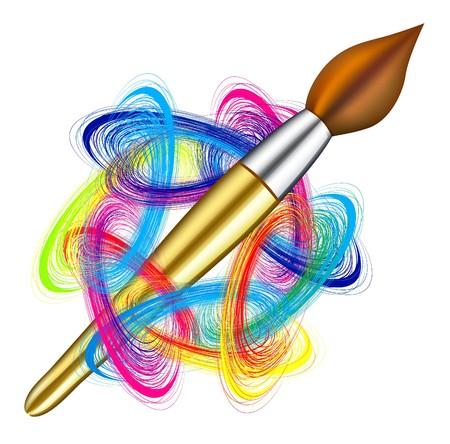 paleta de pintor: Vector paleta del artista y pincel sobre fondo blanco