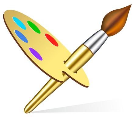 Vector artist's palette and brush Stock Vector - 7102358
