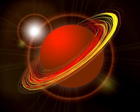 Saturn planet illustration on black background Stock Vector - 7022032