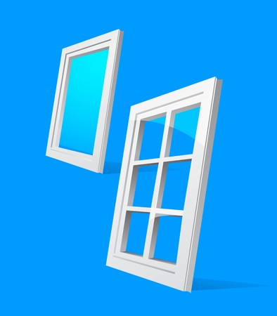 polymer: perspective plastic window illustration on blue background