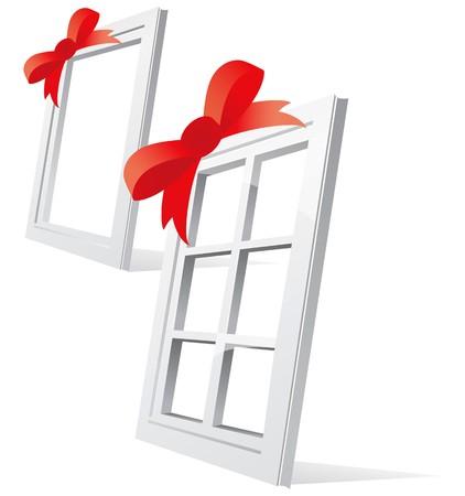 siding: Perspective plastic window illustration on white background