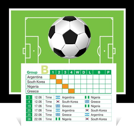 schedule of games of the World Cup 2010 Vector
