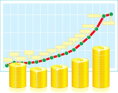 Financial graph with coins on white Vector