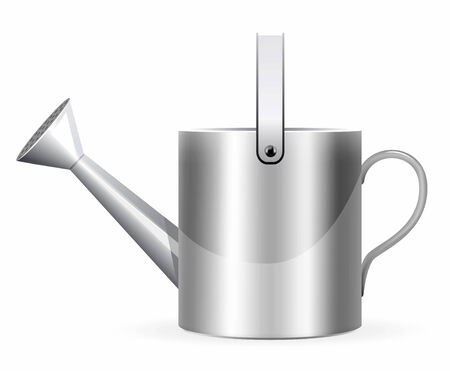 spout: Realistic watering can illustration on white background