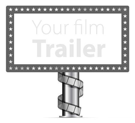 marquee sign: Cartelloni con impacchi film strip illustrazione