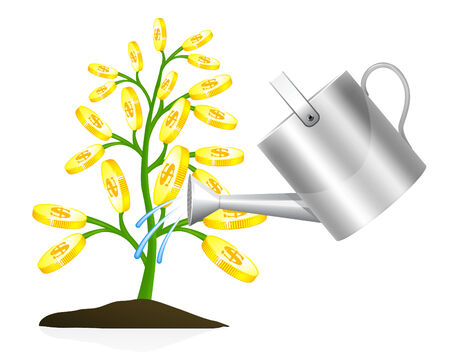 Money tree with watering can illustration on white background Vector