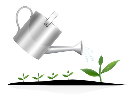 watering can: Young plant with watering can illustration