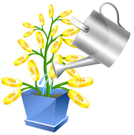 Money tree with watreing can Vector