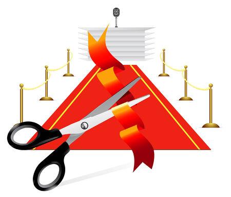 oratory: Red carpet to tribune on white background  Illustration