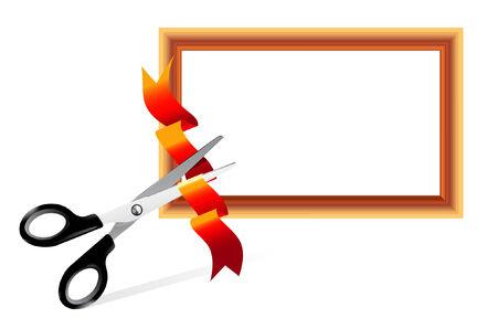 taglio del nastro: Forbici taglio della barra multifunzione. Open Gallery. Facile ridimensionare  Vettoriali