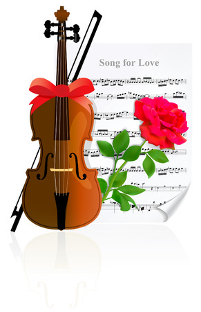 Violin with Rose on the of music sheet