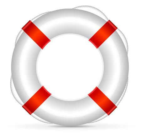 aro salvavidas: Salvavidas realista sobre fondo blanco