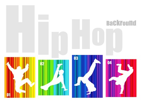 Vector hip-hop silhouette on abstract background. No transparency and effects (EPS 8v) Vector