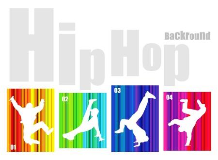 t�nzerinnen: Vektor Hip-hop Silhouette auf abstrakten Hintergrund. Keine Transparenz und Effekte (EPS-8v)
