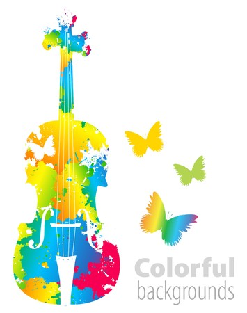 violins: cello, violoncello color background Illustration
