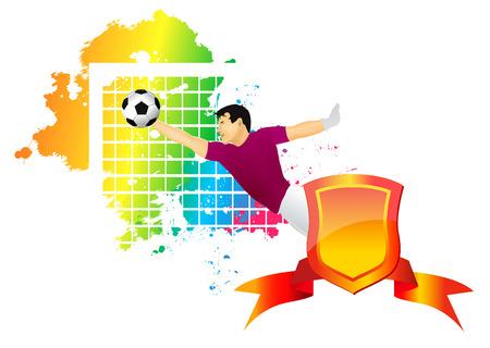 El portero de fútbol atrapa un balón