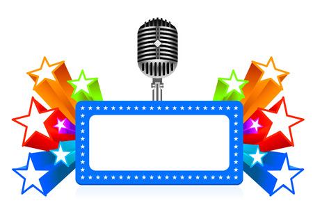 pop star: Star performance illustration on white background Illustration