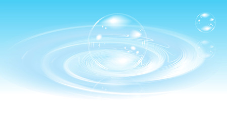 Realistic bubbles on water. Vector illustration. Vector