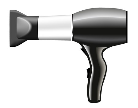 blow dryer: hair dryer grey - illustration   Illustration