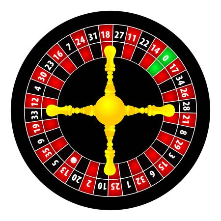 roulett: Roulette-Abbildung auf wei�em Hintergrund  Illustration