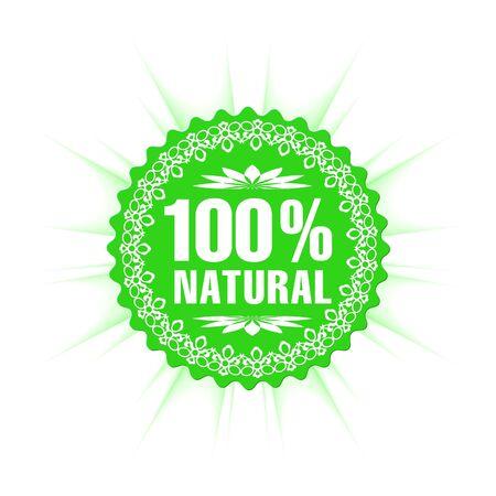 100% natural guarantee label  Stock Vector - 7396421