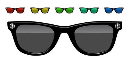 red sun: sunglasses vector illustration