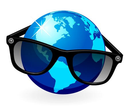 eyeglass: Globe is in dark eyeglasses  Illustration
