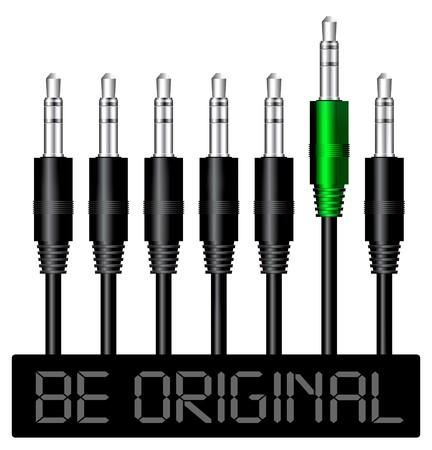 Be original. Stereo plug concept illustration Stock Vector - 7489810