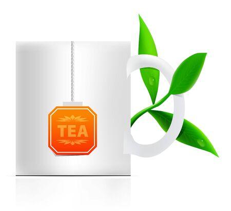 teabag: vector tea mug with teabag label and leaves