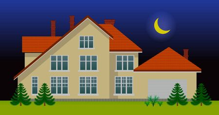 luxury home exterior: New family house in the night. See day version in my portfolio