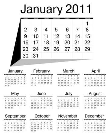 Simple calendar of 2011 Stock Vector - 7648061