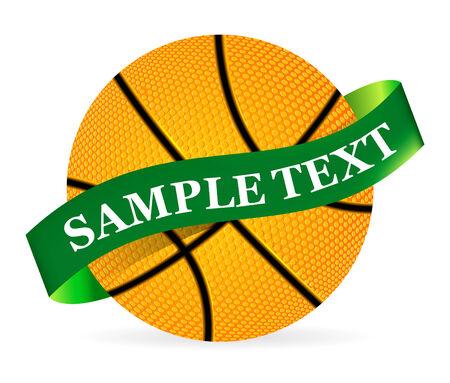 gift basket: Basket Ball with ribbon on white background