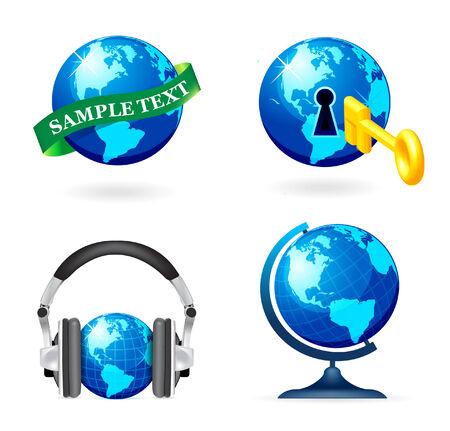 Globe icon set on white background Stock Vector - 7659004