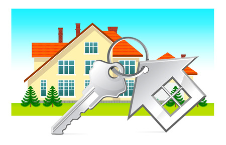 downpayment: House and house keys on white background  Illustration