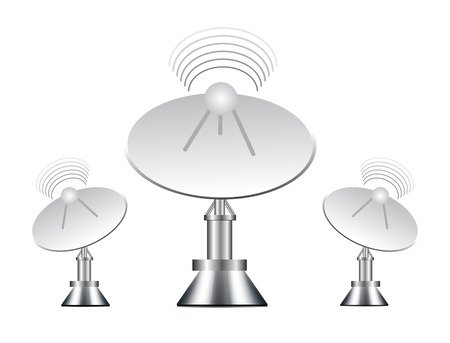 satellite tv: illustration of antenna on white background Illustration