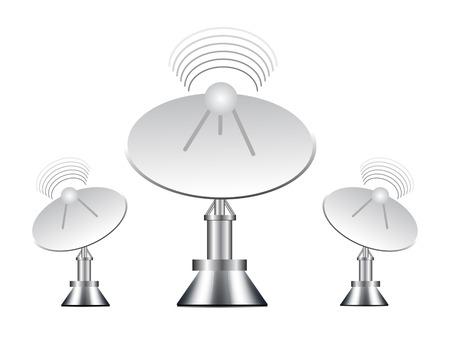 dishes: illustration of antenna on white background Illustration