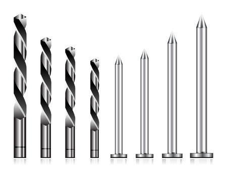 Realistic drill bit and steel nail set Stock Vector - 7659010
