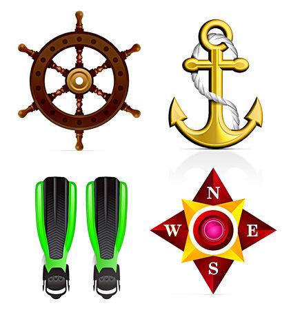 navy ship: Conjunto de iconos  Vectores