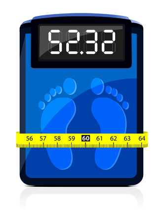 Bathroom Scale with a measuring tape.  Stock Vector - 7695426