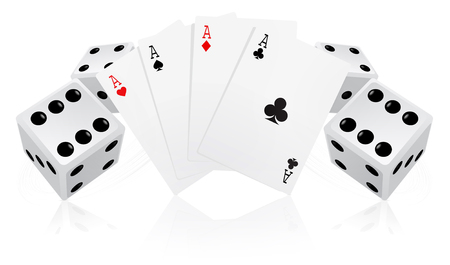 Playing cards with dices Stock Vector - 7744305