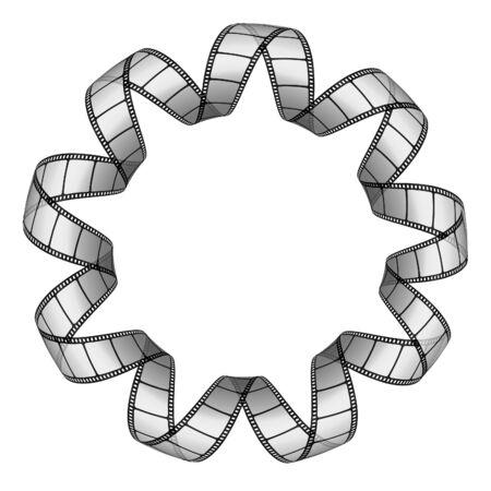twirled: Striscia di pellicola twirled in un cerchio Vettoriali