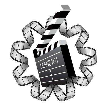 clapboard and film strip Stock Vector - 7744316